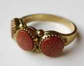 Vintage Ring Goldstone Gold Vermeil Washed Sterling Silver Cocktail Ring size 9