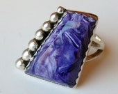 Vintage Ring Exotic Chunky Purple Charoite Sterling Silver Filigree Cocktail Ring size 9 1/2
