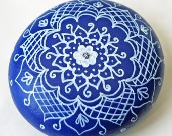 Hand Painted White and Blue Work Floral Rock