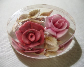 Vintage Lucite Reverse Carved Brooch with Pink Roses