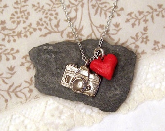 Silver plated camera charm necklace, with heart