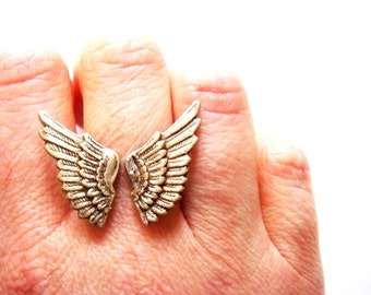 LAST ONE Silver Angel Wing Ring