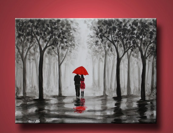 Original Abstract Painting Walking In Rain Black White By