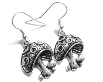 Silver Mushroom Earrings - Alice in Wonderland Jewelry - Sterling Silver Drop Earrings - Wonderland Wedding Jewelry - Mushroom Jewelry 111
