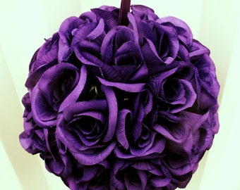Purple pomander kissing ball flower girl wedding decoration wedding flowers bridesmaid bouquets