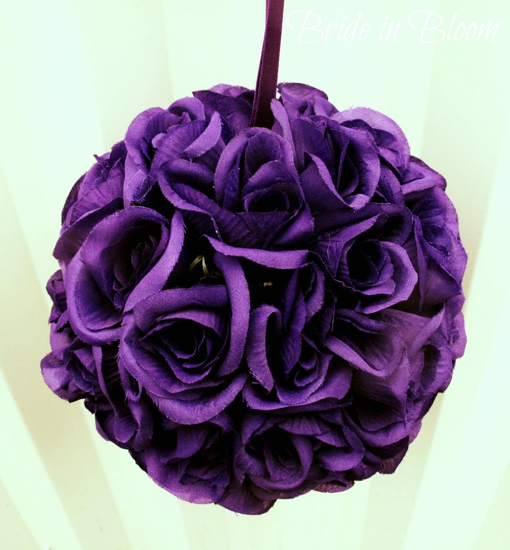 Purple pomander kissing ball flower girl wedding decoration