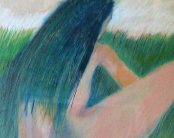 original oil pastel painting, The Watcher