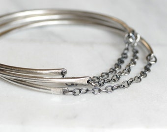 Silver Chain Bangles- Bangle Bracelets - Modern Stacking Bangles - Set of Three