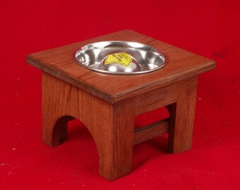 Elevated Dog Feeder Bowl 8 Inch 2 Cup Slow Feed Bowl Solid Oak Wood, FREE STAIN
