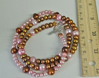 Chocolate Pearl and Carnation Pink Pearl Necklace SET made with Freshwater Pearls in Contrasting Order . Handmade in Maine