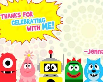 Yo Gabba Gabba Thank You Notes, Yo Gabba Birthday party, Yo gabba thank you cards, Yo Gabba birthday thank you cards