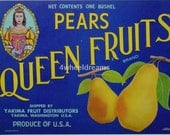 1940s Queen Crown  Fruits Gay Theme Pear WA State Crate Label
