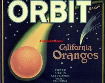 1940s Orange as Comet in Orbit Stars Vintage CA Oranges Citrus Crate Label