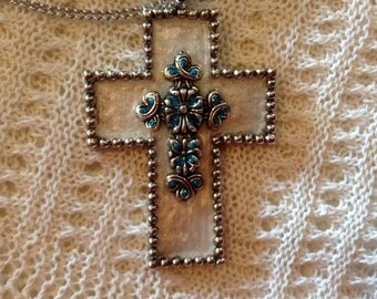White and Turquoise Cross Necklace