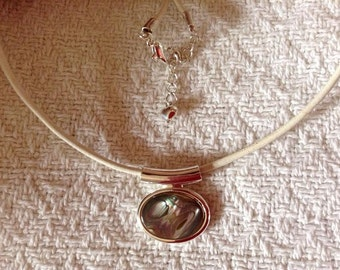 Silver and Paua Shell Necklace On White Leather Cord
