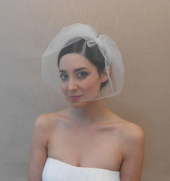 Wedding tulle birdcage veil in ivory, white, or champagne - Ready to ship in 3-5 days