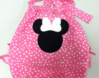Mouse Pink Polka Dot Ruffled Sunsuit- Newborn to 2T