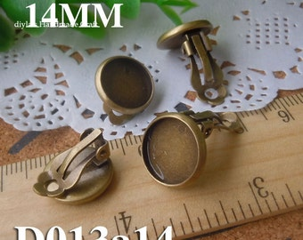 10pcs Brass plated Bronzed earring base setting fit for 14mm Cabochon (D013a14)