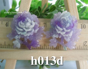 2 pieces 30mm High Quality Antique Purple Chrysanthemum Resin Cabochon Flowers  (h013d)