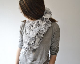 Ruffle Scarf Knit Scarf Infinity Scarf Light grey Women Accessories Wedding