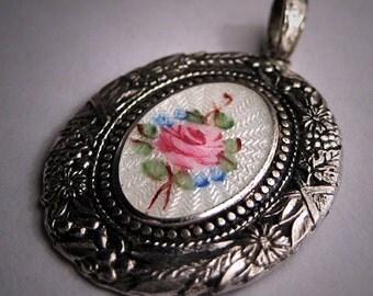 Antique Victorian Enamel Pendant for Necklace Art Deco