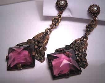Antique Amethyst River Pearl Earrings Victorian Era