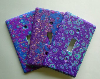 Evening Sky Switchplate Polymer Clay Purple, Blue, Aqua and Copper