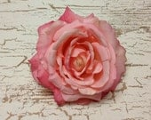Artificial Flower - One Jumbo Fully Bloomed Peachy Pink Rose - 5 Inches - Silk Flowers