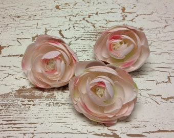 Silk Flowers - THREE Silk Ranunculus Flowers in PINK BLUSH - 2.75 - 3 Inches - Artificial Flowers