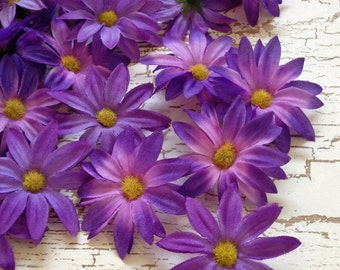 Artificial Flowers - 30 Artificial PURPLE Daisies - Silk Flowers for Hair Accessories