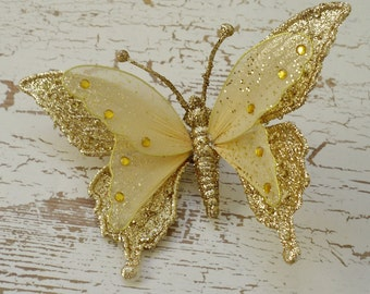 Feather Butterfly - ONE Jumbo GOLD Glitter Butterfly Embellishment On Clip - 7 Inches - Artificial Butterfly