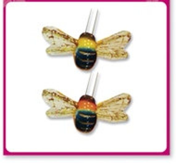 Artificial bees two sheer winged mushroom bees craft for Artificial bees for decoration