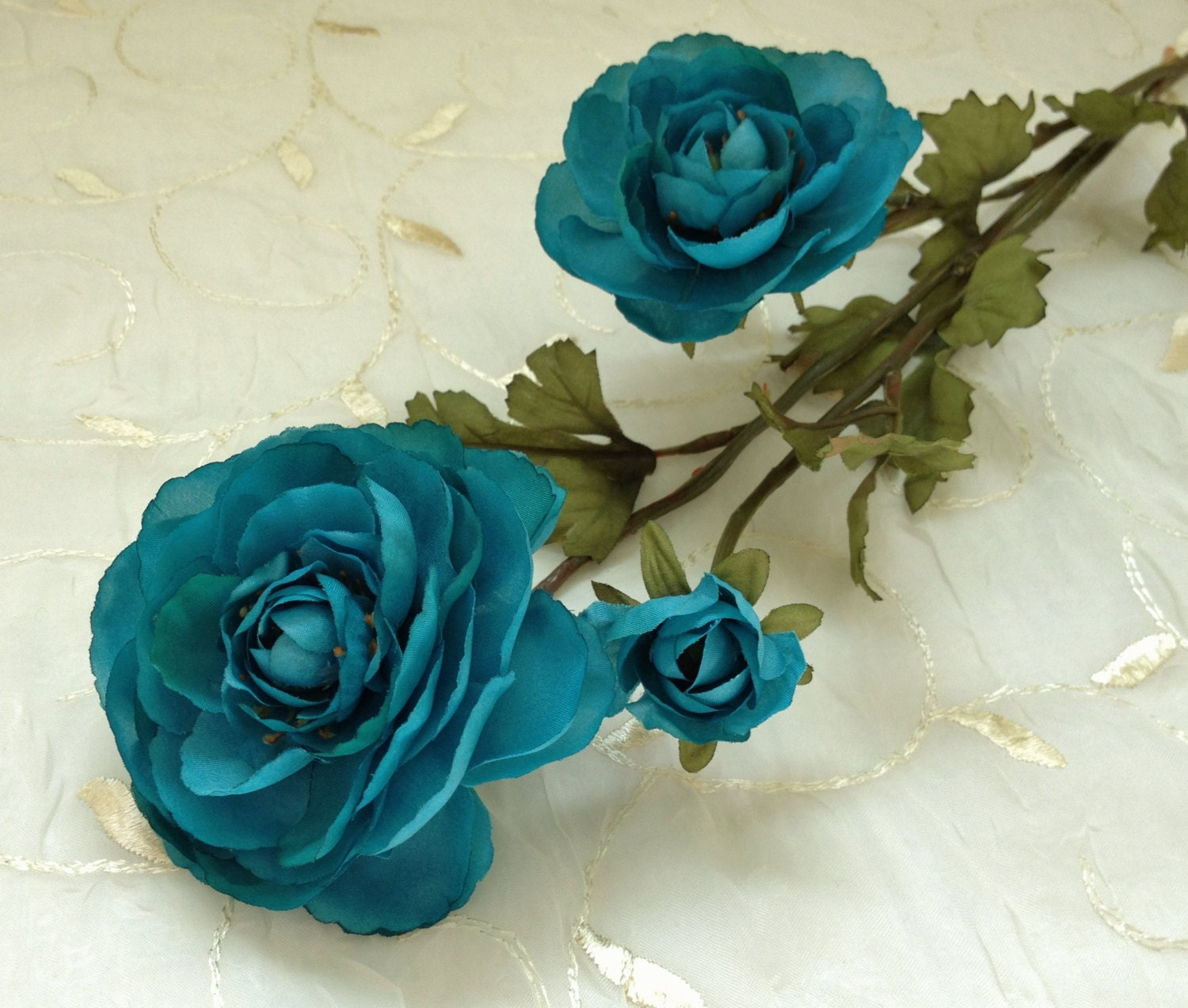 Artificial Flower Spray Turquoise Teal Ranunculus Flowers On