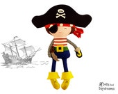 Pirate Sewing PDF Pattern Digital Instant Download DIY Plush Boy Toy - Hat and Eye Patch fits your child