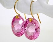 Pink Topaz Gem Cut Ovals and Gold Vermeil Earrings