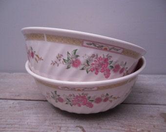 floral melamine ware bowls / pair melmac bowls / cottage chic