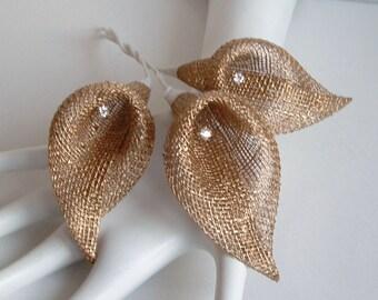 Lot of 3 Sinamay Calla Lilies - Gold