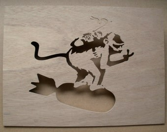 Banksy Monkey Riding Bomb Wooden Stencil