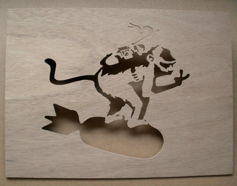 banksy monkey bomb stencil. Black Bedroom Furniture Sets. Home Design Ideas