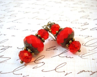 Red Antique Brass Earrings, Red Czech Glass Picasso Beaded Earrings, Antique Brass Earrings, Free Shipping