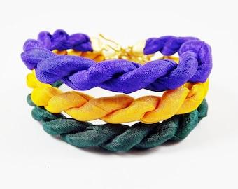 Instant Stacking Silk Bracelet Set -  Deep Green, Yellow, Purple - Fashion - No:3