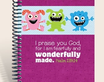 Personalized Notebook - Silly Faces - Fuscia Wonderfully Made