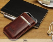 iPhone SE / 5S  wallet case, cover, vegetable tanned leather, 100% wool felt -Leicester- LE-5-GLB