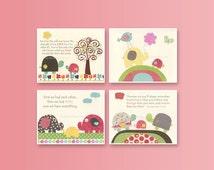 Baby Girl Nursery Wall Art, Baby Girl Nursery Decor, Nursery wall art Girl Room Decor, Pink, aqua, yellow, green, Set 4 8x10 Nursery Prints