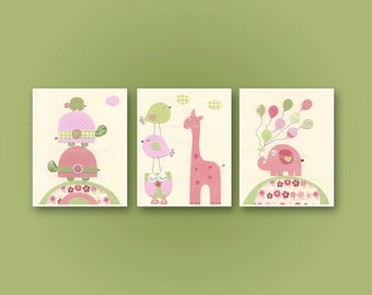Baby girl, Nursery wall art print, Baby room decor, love birds, turtle, elephant, set of 3 8x10, match to the colors of Hayley bedding set
