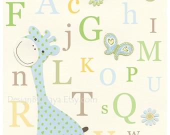 Baby room, Nursery Wall Art Print, Nursery Art, Kids Wall Decor, Baby Boy Nursery, Eli Elephant Bedding, baby room decor / Colors Blue Green