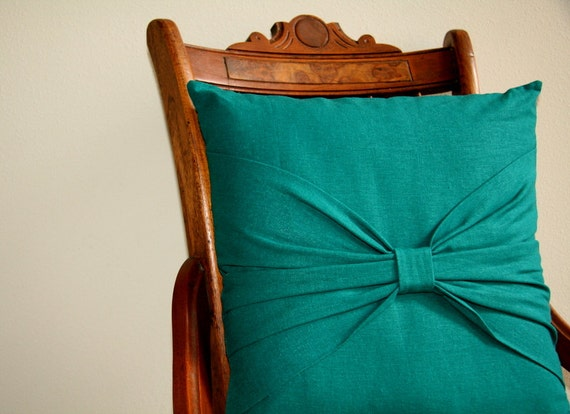 "linen bow pillow in teal / 16"" decorative pillow cover / dorm decor / home decor / house warming gift"