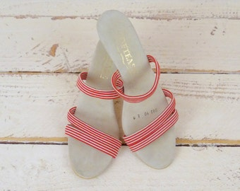 Vintage red white striped suede stretch wedge sandals