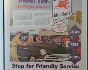 SALE Vintage Mobil Mobilgas Ad Advertisement from 1957 Plastic Frame Magazine Collectible Wall Hanging