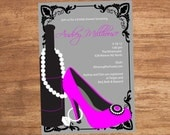 Wine Shoe Ring Custom Shower Bachelorette Party Invitation